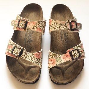 Birkenstock Birki's Cheetah Floral 2 Strap Sandals